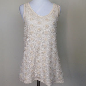 J. Crew Cream Lace Floral Tank small